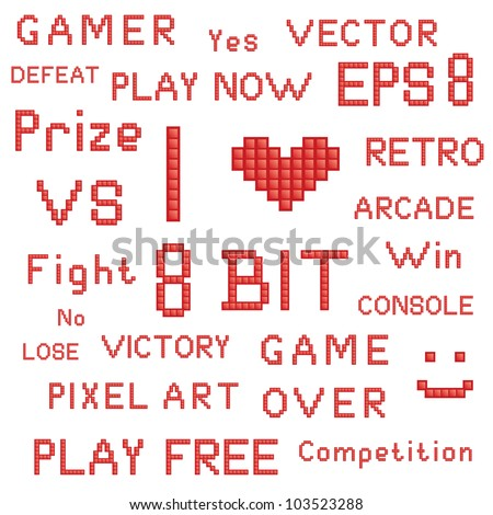 Vector set of red pixel art games slogans