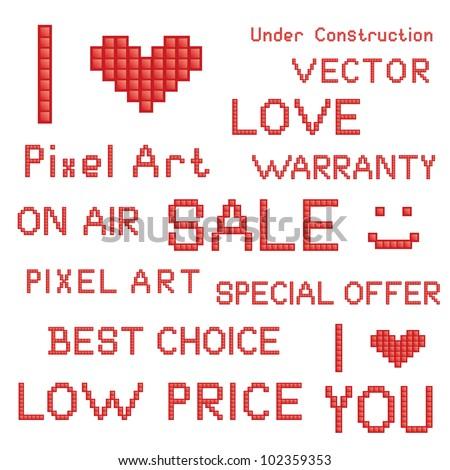 Vector set of red pixel art slogans