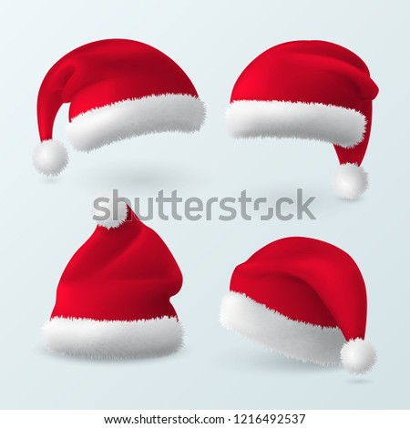 Vector set of red realistic Santa Claus hats. Winter collection of 3d caps for Christmas holiday design. Isolated from background.