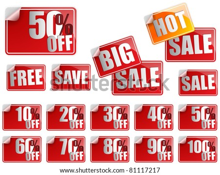 Vector - Set of Red Sale Stickers