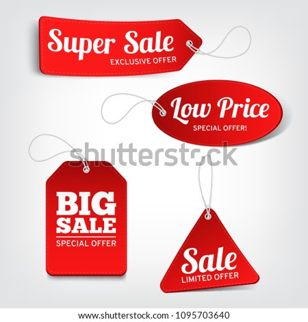 Vector set of red sale tags. Vector labels for design banners and flyers. Isolated from the background. #1095703640
