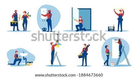 Vector set of repair people, plumbers, electricians, painter renovating an apartment   Stock photo ©
