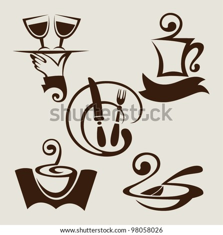 vector set of restaurant signs and symbols