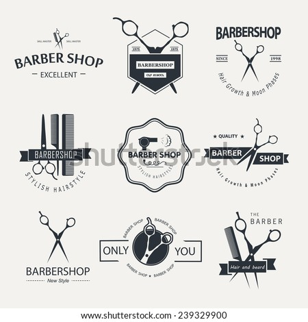 vector set of retro barber shop ...