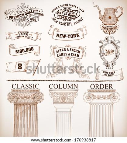 Vector. Set of retro elements: baroque frames, banners, retro labels, classic columns, flag, teapot.