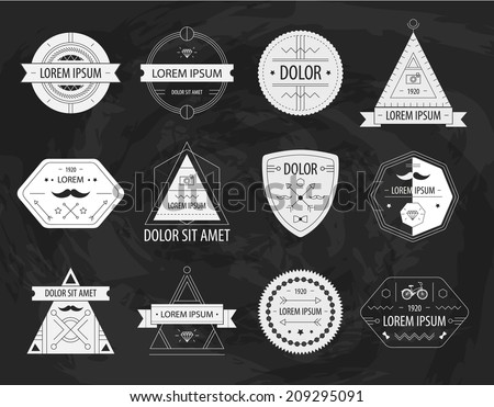vector set of retro hipster labels icons logos isolated on blackboard