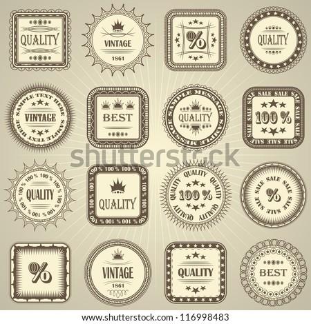 Vector set of retro labels