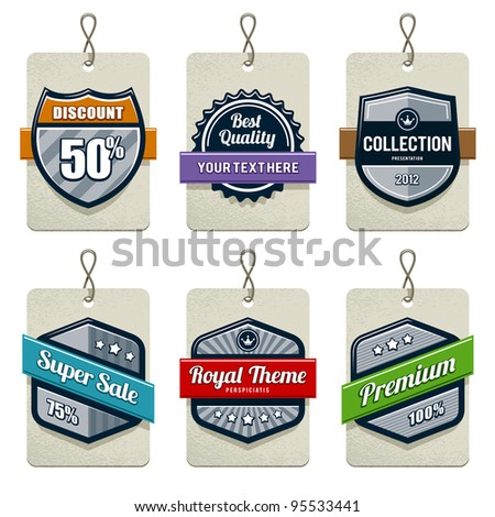 Vector set of retro labels.