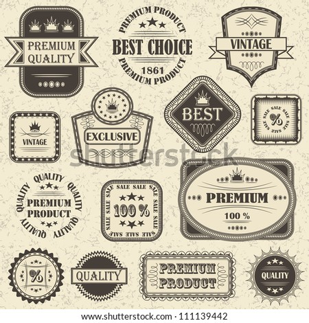 Vector set of retro labels and icons