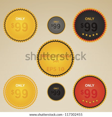 Vector set of retro labels, buttons and icons.