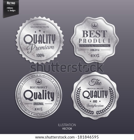 Vector set of retro stamp, sticker, tag, label, badge on color background.