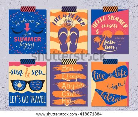 vector set of retro summer