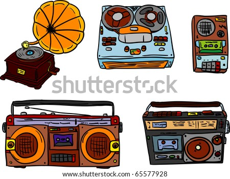 vector - set of retro tape players and gramophone