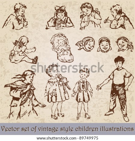 Vector set of retro, vintage children illustration - stock vector