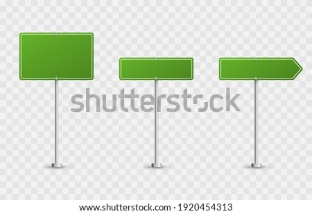 Vector set of road signs. Road signs on an isolated background. Green flags png, road signs png, green signs.