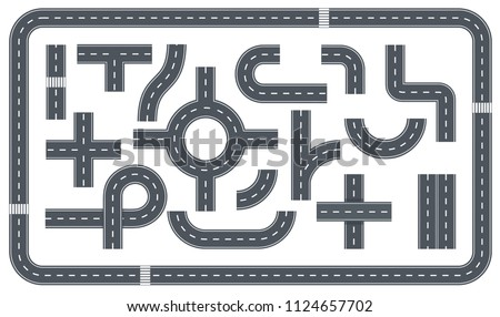 Vector set of road with crossroads, footpath and white markings. Bending asphalt roads and highways vector illustration. Cartoon road and traffic streets for city map.