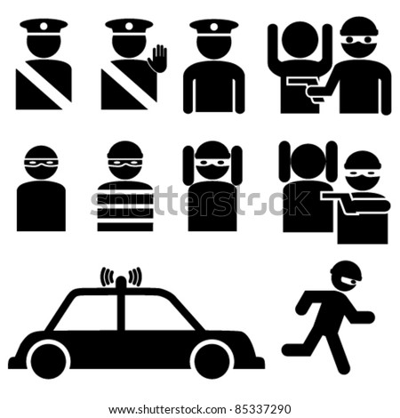 Vector set of robber and police officer stick figures illustrations