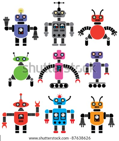 vector set of robots of various