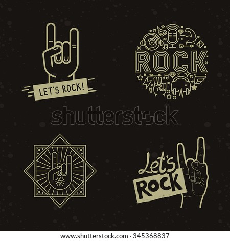 vector set of rock and roll