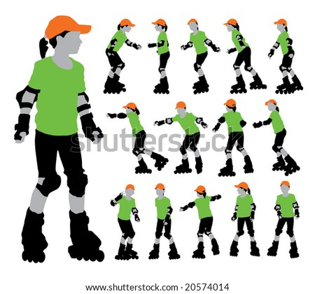 Vector set of roller girl's silhouettes