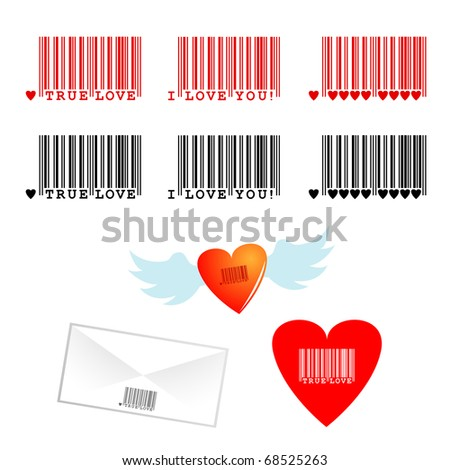 "Vector set of romantic bar codes with texts ""true love"", ""I love you"""