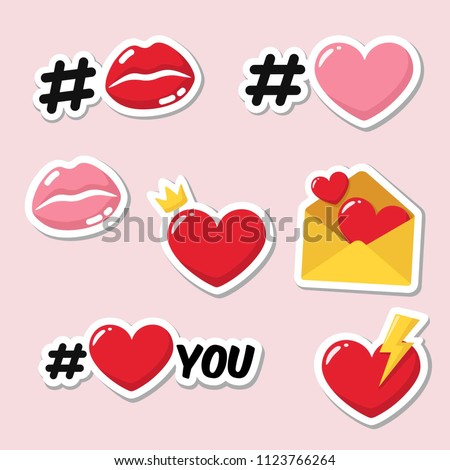 Vector set of romantic love stickers icons. Red and pink heart, hashtag heart, heart with crown, lips in kiss, heart with lightning, envelope with hearts. #1123766264