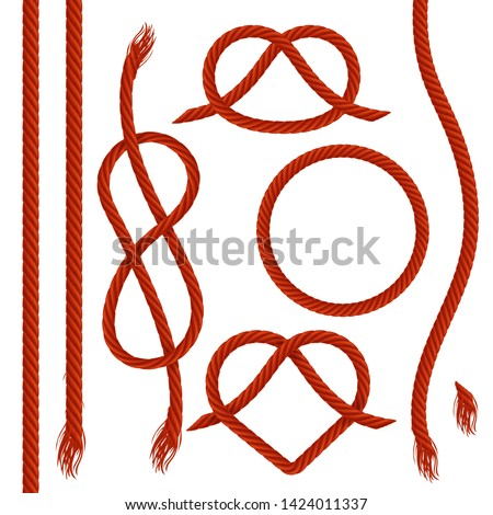 Vector set of ropes, realistic illustration. Nautical red  rope, cord, string, knots and loops decorative elements for borders and frames. Isolated on white.