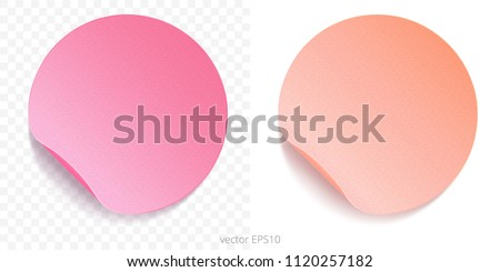 Vector set of round adhesive stickers with a folded edges. Paper circles. Fuchsia pink and pinkish peach gradients. Blank template. Empty mockup of tags. Realistic textures. Gentle watercolor shades.