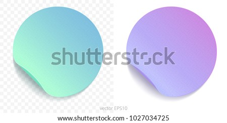 Vector set of round adhesive stickers with a folded edges. Paper circles of green blue and lilac purple gradients. Blank templates. Empty mockup of tags with a realistic textures. Transparent shadows.
