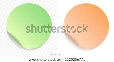 Vector set of round adhesive stickers with a folded edges. Paper circles of lime green and peachy orange gradients. Blank templates. Empty mockup of tags with realistic textures. Transparent shadows. #1120256771