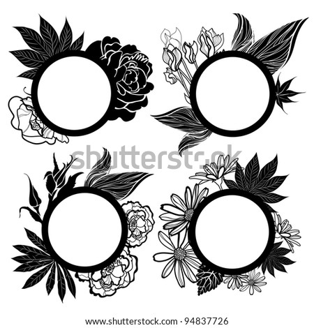 Vector set of round black vintage frames with flowers