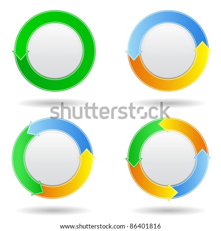 Vector set of round  buttons with arrows
