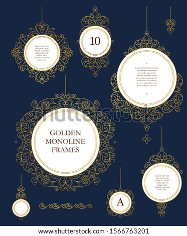 Vector set of round frames and borders for design template. Elements in Eastern style. Golden outline floral arabic ornament. Isolated line art ornaments. Gold monoline ornamental decoration.