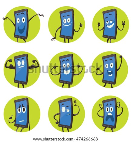 Vector set of round green frames with cartoon images of black smartphones with blue screens with arms and legs with a variety of emotions and actions on a white background. Positive character.  #474266668