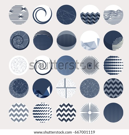 Vector set of 25 round label design IN BLUE. Collection of decor elements with hand drawn textures. Beautiful Scrapbook Elements. Ideal for cards, posters, invitations. Isolated.