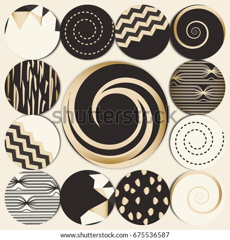 Vector set of 12+1 round label design IN GOLDEN & BLACK. Collection of decor elements with hand drawn textures. Beautiful Scrapbook Elements. Ideal for cards, posters, invitations. Isolated.