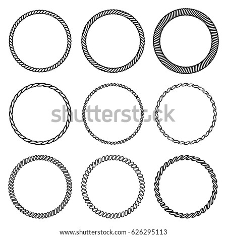 Shutterstock Vector set of round rope frame. Collection of thick and thin circles isolated on the white background consisting of braided cord and string. For decoration and design in nautical style.