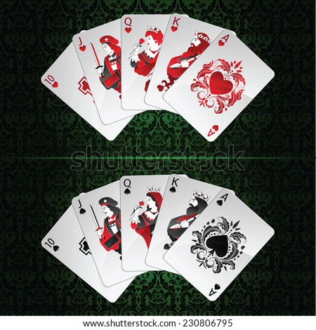 vector set of royal flush in