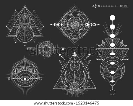 Vector set of Sacred geometric symbols and figures on black background. Abstract mystic signs collection. White linear shapes. For you design: tattoo, posters, t-shirts, textiles or magic craft.