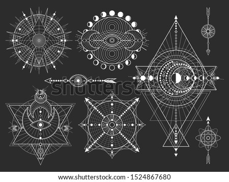 Vector set of Sacred geometric symbols and figures on black background. Abstract mystic signs collection. White linear shapes. For you design: tattoo, posters, t-shirts, textiles.