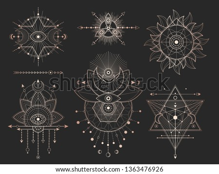 Vector set of Sacred geometric symbols and figures on black background. Gold abstract mystic signs collection drawn in lines. For you design: tattoo, print, posters, t shirts, textiles and magic craft