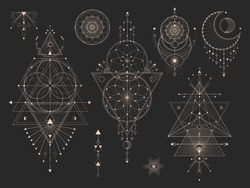 Vector set of Sacred geometric symbols with moon, eye, arrows, dreamcatcher and figures on black background. Gold abstract mystic signs collection drawn in lines. For you design.