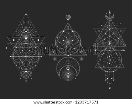 Vector set of Sacred geometric symbols with moon, eye, arrows, dreamcatcher and figures on black background. White abstract mystic signs collection drawn in lines. For you design.