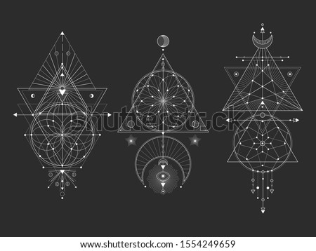 Vector set of Sacred geometric symbols with moon, eye, arrows, dreamcatcher and figures on black background. White abstract mystic signs collection drawn in lines. For you design and magic craft.