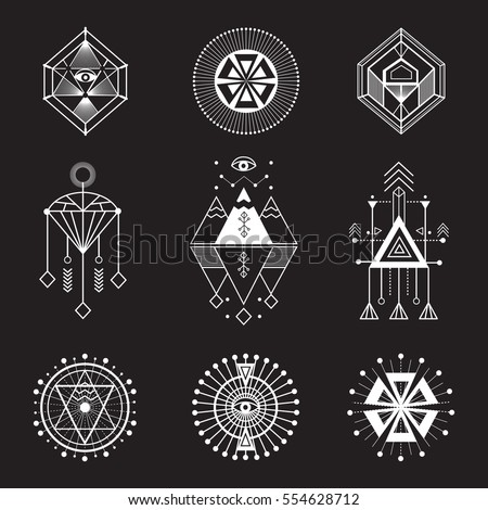 Vector set of sacred geometry. Geometric icons, shapes and logos. Collection of symbols: ethnic, religion, alchemy, philosophy, spiritual, folk, Indian. Hipster decorative elements. Isolated signs.