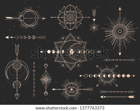 Vector set of Sacred symbols arrows, moon and eye on black grunge background. Gold abstract mystic signs collection drawn in lines. For you design and magic craft.