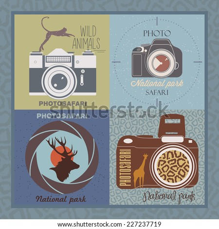 vector set of safari labels