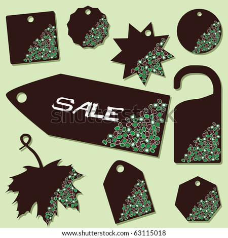 vector set of sale labels with green dots
