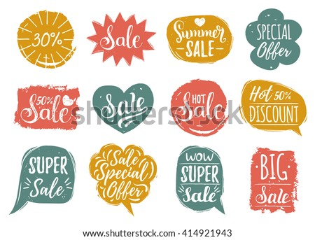 Vector set of Sale lettering in comic speech bubbles. Discount cards collection: Special Offer, 30% etc. Hand drawn illustrations of labels and logos.