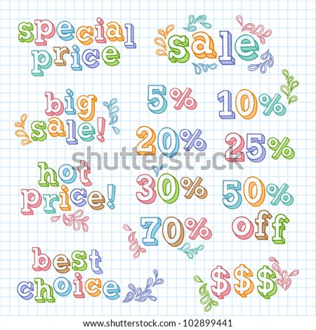 Vector set of sale titles. Hand written letters and figures